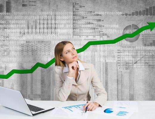 mladá žena akciové trhy grafy